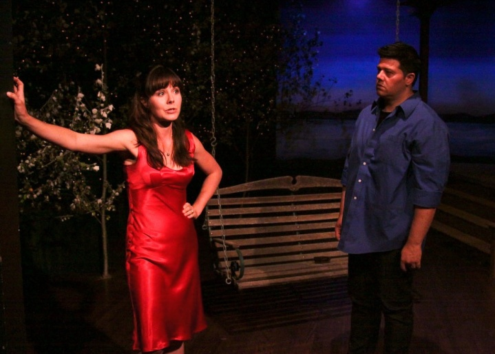 "Sami Granberg (left) and Nathan Cummings portray old lovers who encounter one another at a high-school reunion in ""The Pavilion,"" Craig Wright's bittersweet comedy which opens Cinnabar Theater's 41st season.  Photo"" Eric Chazankin"
