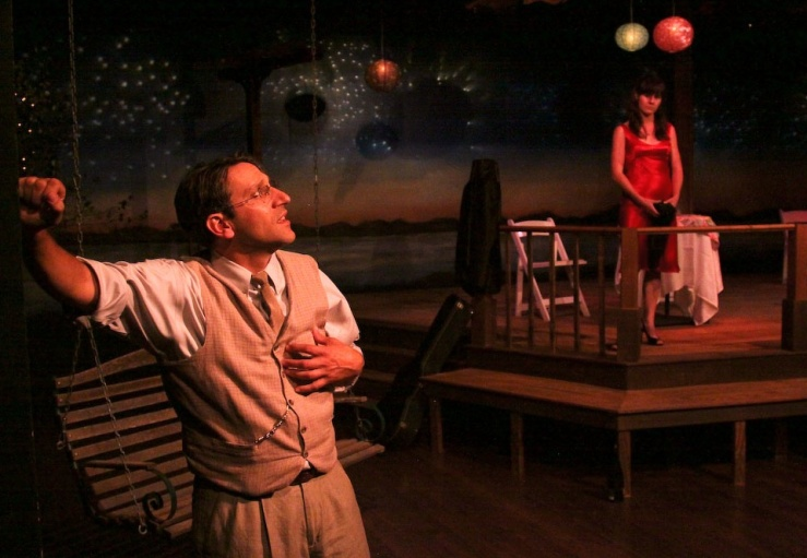"Jeff Coté (left) and Sami Granberg star in ""The Pavilion"", a romantic new play  that opens Cinnabar Theater's 41st season.  Coté is the Narrator and he comically plays a number of secondary characters—male and female— at a 20th high school reunion.  Granberg plays Keri, who has been seething since high school over being abandoned when she got pregnant. Photo:  Eric Chazankin"