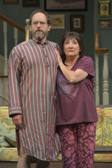 (l to r) Bay Area actors Anthony Fusco (Vanya) and Sharon Lockwood (Sonia) portray siblings in Vanya and Sonia and Masha and Spike, this year's Tony Award winner for Best Play, at Berkeley rep through October 25, 2013.  Photo courtesy of kevinberne.com