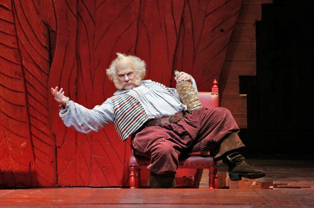 Falstaff, played by Welsh bass baritone Bryn Terfel, schemes to make some extra money by romancing a pair of wealthy wives in Verdi's comedic opera.  Photo: Cory Weaver, SFO