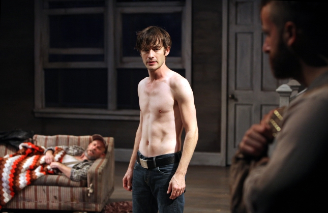 No one recognizes Vincent (Patrick Alparone, center) when he returns home and tries to reconnect with his father, Tilden (James Wagner, right), and grandfather, Dodge (Rod Gnapp, left) in Sam Shepard's Buried Child at Magic Theatre. Photo: Jennifer Reiley