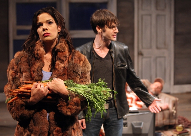 Vince (Patrick Alparone) brings his girlfriend Shelly (Elaina Garrity) to his family homestead after a long absence in Sam Shepard's Buried Child playing at Magic Theatre. Photo: Jennifer Reiley