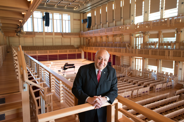 Zarin Mehta, the former president and executive director of the New York Philharmonic Orchestra, is the new co-executive director of Green Music Center.  He officially starts work on November 1, 2013.  Mehta will focus on artistic planning and management of GMC alongside Sonoma State University CFO Larry Furukawa-Schlereth, who also serves as co-executive director of GMC.  Mehta is pictured standing in the Joan & Sanford I. Weill Hall.  Photo: Kristen Loken