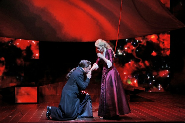 """Greer Grimsley is the Dutchman and Lise Lindstrom is Senta in Richard Wagner's """"The Flying Dutchman,"""" at San Francisco Opera through November 15, 2013.  This year marks the 200th anniversary of the composer's birth.  Photo: Cory Weaver, SFO"""