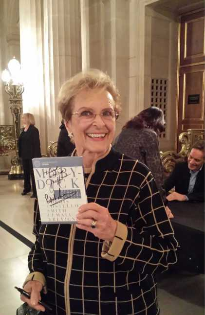 "Carol Upshaw of Walnut Creek was first in line to get her ""Moby Dick"" autographed  by Jake Heggie and Parick Summers at War Memorial Opera House yesterday.  ""Jake's a friend and a great singer."""