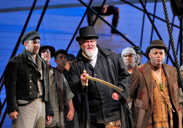 "San Francisco Opera has just released a new ""Moby Dick"" DVD.  Composer Jake Heggie's and librettist Gene Scheer's opera earned rave reviews at SFO in 2012 after opening to accolades in Dallas and San Diego. (From L to R) Stephen Costello as Greenhorn, Jay Hunter Morris as Captain Ahab and Jonathan Lemalu as Queequeg.  Photo by Cory Weaver."