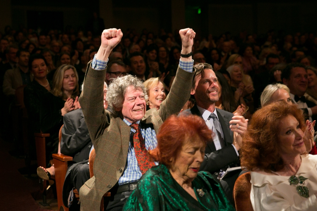 "Gordon Getty thanking the crowd for his ""Happy Birthday"" serenade, enthusiastically sung by the Davies audience, SFS Chorus, accompanied by SFS  (son Billy Getty is to the right).  Photo: Moanalani Jeffrey Photography"
