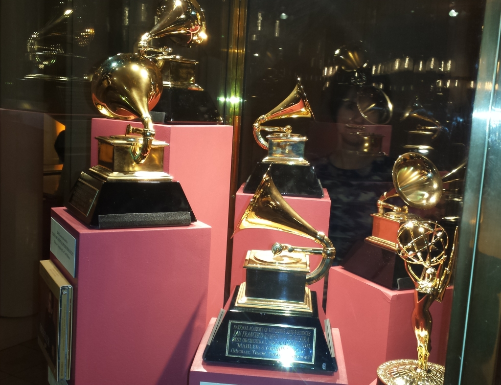 Grammy Time!  Davies sparkled with cabinets displaying San Francisco Symphony wins.  Last year's Grammy for Best Orchestral Performance for its live recording of works by Bay Area composer John Adams added up to the 15th Grammy for San Francisco Symphony.  Photo: Geneva Anderson