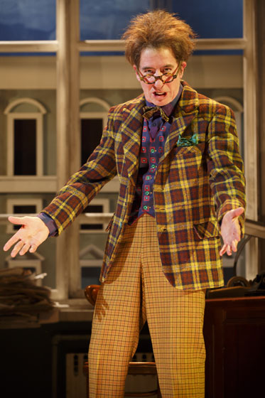 "Comic actor Steven Epp returns to Berkeley Rep as the insanely shrewd Maniac who sets off the investigation in Dario Fo's classic comedy, ""Accidental Death of an Anarchist."" Photo by Joan Marcus"