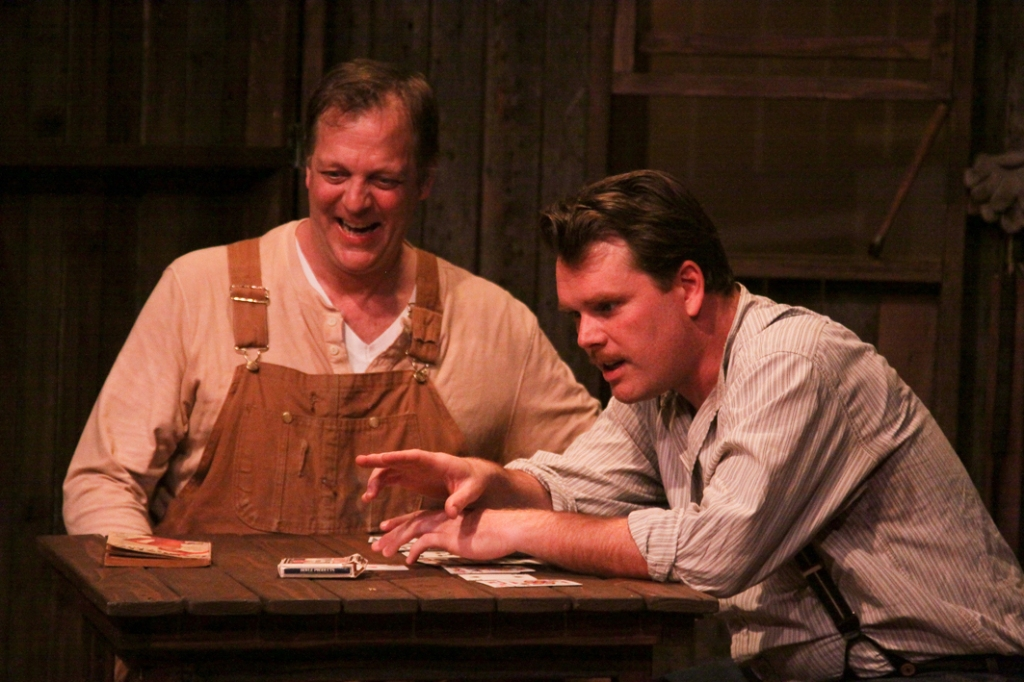 "Cinnabar Theater in Petaluma presents John Steinbeck's masterpiece ""Of Mice and Men,"" starring Samson Hood (left) as Lennie and Keith Baker (right) as George.  The unlikely friends drift from job to job across the farms and fields of California, holding fast to their dream of one day having an acre of land they can call their own.  Photo by Eric Chazankin)"