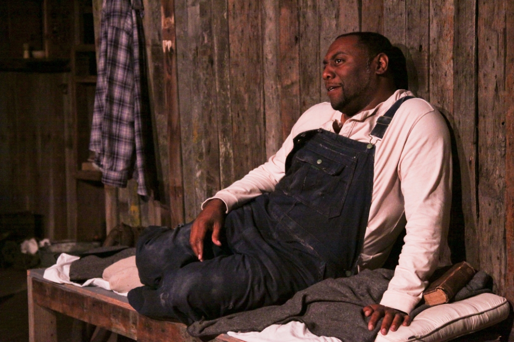 "Cinnabar Theater in Petaluma presents Steinbeck's masterpiece ""Of Mice and Men,"" featuring Dorian Lockett as Crooks.  Photo by Eric Chazankin"
