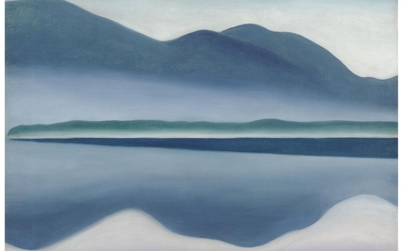 """Slow Art Day, Saturday, April 12, 2014, encourages people to slow down and really concentrate on the art in front of them.  Georgia O'Keeffe, Lake George [formerly Reflection Seascape], 1922 is currently on view at the de Young museum as part of their """"Georgia O'Keeffe and Lake George"""" exhibition.  Oil on canvas. San Francisco Museum of Modern Art, gift of Charlotte Mack. © Georgia O'Keeffe Museum / Artists Rights Society (ARS), New York"""