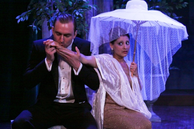 The cheating Count Almavira (Christiaan Smith-Kotlarek) tries to woo his suspicious wife Countess Almaviva (Bharati Soman). Photo: Eric Chazankin
