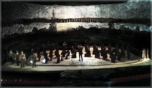 """Michael Tilson Thomas leads over 200 members of the SF Symphony, the SFS Chorus in three semi-staged performances of Benjamin Britten's  opera, """"Peter Grimes,"""" which features engrossing panoramic floor-to-ceiling video projections by cinematographer/filmmaker Adam Larsen, directed by James Darrah.  Heldentenor Stuart Skelton sings the title role.  With this opera, Britten reinvented the possibilities of musical language—sea breeze, gull in flight, tempest and glittering dawn.  This is SFS' first performance of the complete """"Peter Grimes."""" Photo: courtesy SF Symphony."""