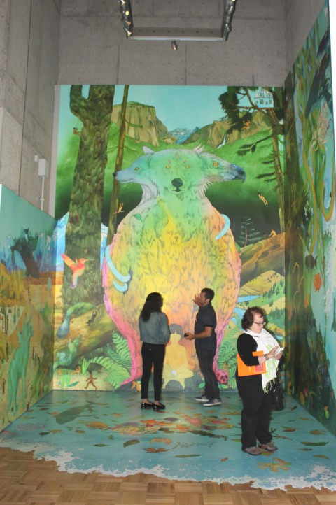 "Mural Magic!  So-Cal husband and wife duo, ""kozyndan,"" love oceans, nature, bursts of bright color and working together.  ""An Ode To California"" is 17 feet tall and 36 feet wide, and covers the floor of the space where it is has been lovingly installed.  The mural is part of OMCA's ""SuperAwesome: Art and Giant Robot"" which explores recent works by California and international artists affiliated with ""Giant Robot,"" the influential magazine that brought Asian, trans-Pacific culture to the masses.  Artworks in the exhibition represent a range of mediums, including mural art, sculpture, illustration, portraiture, large-scale installations, graphic novels, photography, and more.  Photo: Geneva Anderson"