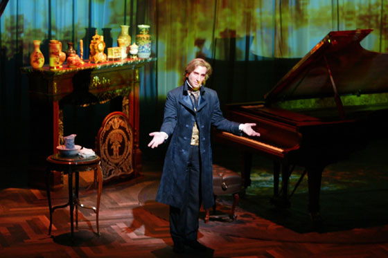 "At Berkeley Rep, award-winning actor and musician Hershey Felder stars in ""Monsieur Chopin,"" a passionate portrayal of the Polish pianist and composer, Fryderyk Chopin.  Felder invites the audience into Chopin's lush salon for a magical music lesson as he tells his tragic life story, punctuated by over a dozen lyrical polonaises, mazurkas, valses, nocturnes and preludes. Photo:  John Zich"