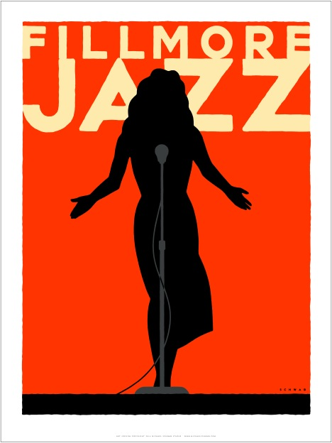 Michael Schwab created the poster for this year's Fillmore Jazz Festival, his third for the legendary free music festival.  Schwab is an internationally-renowned artist whose latest commission is the logo design for the San Francisco Bay Area Super Bowl 50 Host Committee for 2016.  Image: courtesy Michael Schwab