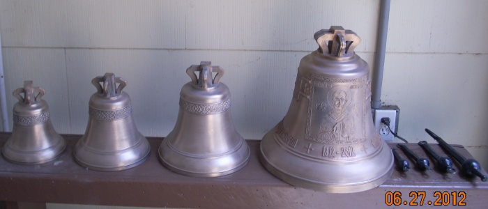 "SFS regular guest percussionist, Victor Avdienko, will play a ""peal"" or set of authentic Russian bronze bells in the Symphony's ""All Tchaivovsky"" concert this Saturday at Weill Hall and lawn.   The peal was loaned to SFS by the St. Nicholas Orthodox Church of San Anselmo.  The bells range in weight from 12.3 to 88.1 pounds and were made in 2012 by Pyatkov & Co. Bell foundry, a famous Russian bell foundry in Kamensky-Uralsy.  The largest bell is decorated with the icon of St. Nicholas, Bishop of Myra in Lycea, on its skirt.  Opposite this, also on the skirt, is the icon of St. Theodosius Sumorin of Tot'ma.  The upper decorative belt of the bell has the Coat of Arms of the City of Tot'ma and an inscription in Russian. Photo: courtesy Blagovest Bells"