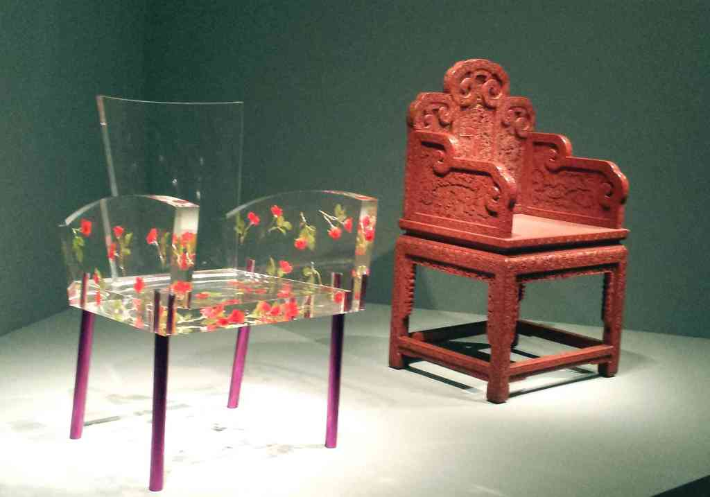"""(Left) """"Miss Blanche chair"""" by Shiro Kuramata (1988), plastic, artificial flowers, aluminum. Collection SFMOMA. @Estate of Shiro Kuramata.  (Right) Chair for the imperial court, approx.. 1750-1850.  China. Lacquered wood.  The Avery Brundage Collection, B60M28+."""