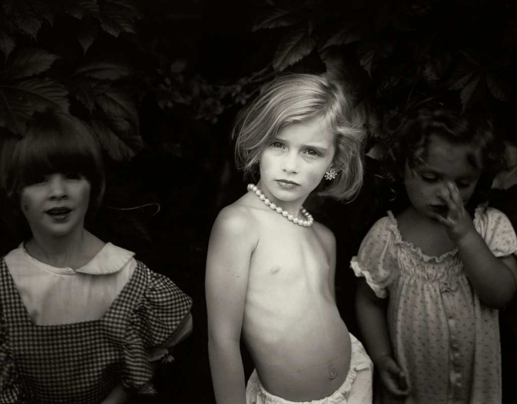 """Is posing your five-year-old child so as to capture innate sexuality crossing a border, or, is this silver gelatin portrait """"gorgeous"""" because it so sensuously captures an honest slice of childhood?  Sally Mann's """"Jessie at 5"""" (1987) brushes up against social boundaries that are fluidly defined but perfectly illustrate the tensions in the SFMOMA-Asian Art Museum exhibit, """"Gorgeous."""" @Sally Mann. Courtesy: Gagosian Gallery."""