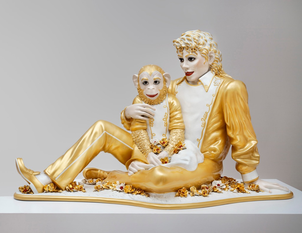 """Gorgeous often seduces through the allure of the extreme.  Jeff Koons' """"Michael Jackson and Bubbles"""" (1988), rendered in gold glazed porcelain 1988, is a mainstay of SFMOMA's collection.  In addition to being on view in """"Gorgeous,"""" another edition of the sculpture is currently on view at the Whitney's Jeff Koons' retrospective.  SFMOMA curator Janet Bishop notes that the iconic piece captures """"a very real moment in the pop star's obsessive personal pursuit of gorgeousness.""""   Collection SFMOMA, ©Jeff Koons."""