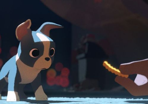 "A still from ""FEAST"" (2014) a delightful DISNEY short from director Patrick Osborne about a Boston terrier named Winston whose diet changes dramatically when his single owner gets a girlfriend.  ""FEAST"" will screen Sunday, September 21, 2014 at the Hess Collection in Napa as part of the ""16th Annual Animation Show of Shows.""  The program of film shorts will be moderated by Ron Diamond, founder Acme Filmworks, L.A., who personally selected the films as outstanding examples in animation.  Image: ©DISNEY."