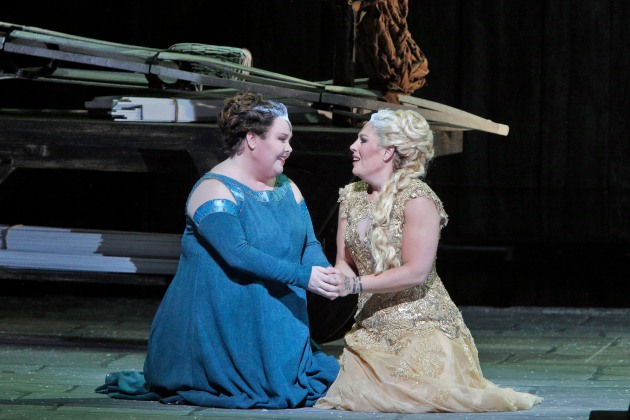 "They share a disastrous taste for the same Roman lover— mezzo-soprano Jamie Barton as Druid priestess Adalgisa (L) and Soprano Sondra Radvanosky as Druid high-priestess Norma in San Francisco Opera's ""Norma,"" through September 30, 2014.  Image: Cory Weaver"