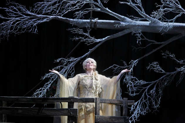 "Radiant soprano Sondra Radvanosky as Druid high-priestess Norma in San Francisco Opera's new production of Bellini's ""Norma,"" through September 30, 2014.  Last fall, Radvanovsky triumphed as Norma at the Metropolitan Opera and, after her SFO performance, will go on to sing the role at Barcelona's Gran Teatre del Liceu and Munich's Bavarian State Opera.  Image: @Cory Weaver, San Francisco Opera"