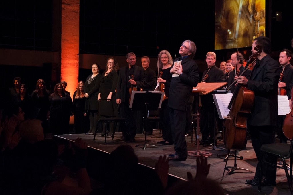 """Beaming MTT (Michael Tilson Thomas) conducts members of the SF Symphony and Chorus in Monteverdi's """"Magnificat"""" (1610) from """"Vespro della Beata Vergine.""""  Photo: courtesy SFS"""