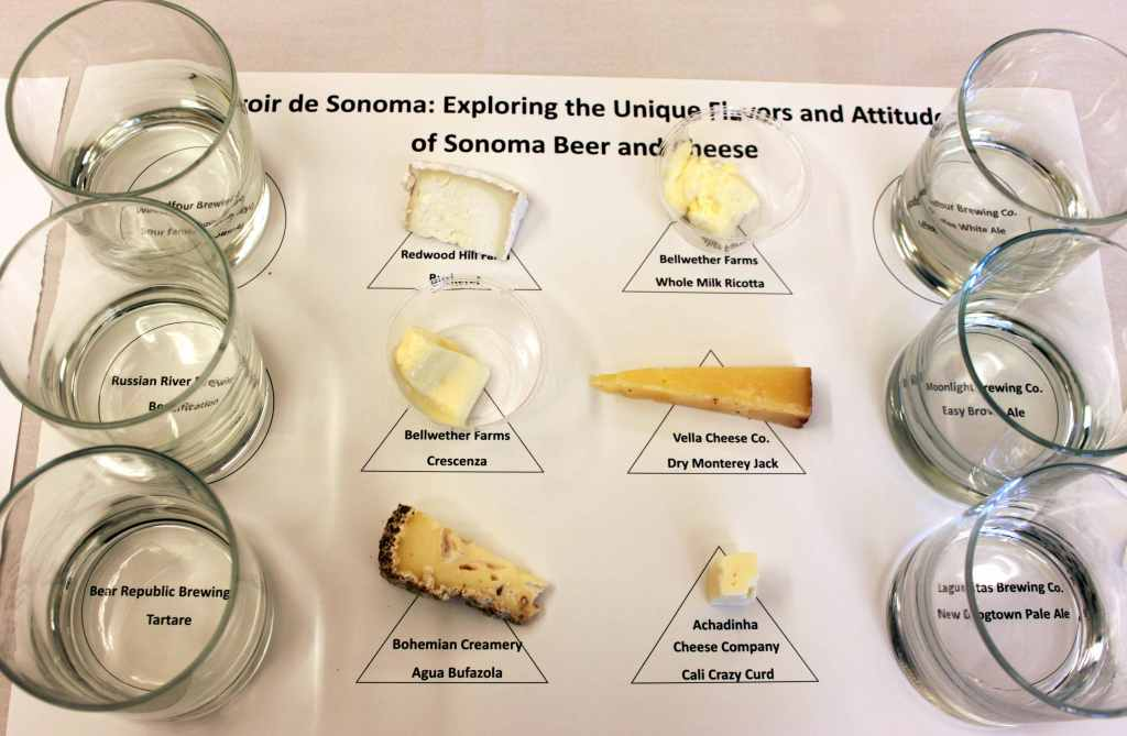Well-crafted seminars with leading experts are the backbone of the annual California Artisan Cheese Festival.  Last year's seminar on local terroir with Master Cicerone Rich Higgins and American Cheese Society Certified Cheese Professional, Michael Landis was sold-out.  Participants tried delectable artisan beer and cheese pairings that illustrated keys concepts of terroir and learned how to talk about terroir. Photo: Geneva Anderson