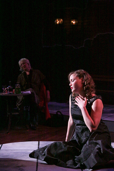 "At Cinnabar Theater in Petaluma, soprano Julia Hathaway (foreground) is one of five performers starring in the world premiere of ""Edith Piaf: Beneath Paris Skies.""  In the second part of the musical, Hathaway sings Piaf's signature song, ""La Vie en Rose,"" whose lyrics, newly translated for Cinnabar by Lauren Lundgren, tell of love blissfully reclaimed. Hathaway  appeared in  ""Jacques Brel is Alive and Well and Living in Paris"" (2014) and sang Frasquita in ""Carmen"" (2014) and Musetta in ""La Bohème"" (2009)).  In the background is Melisa Weaver who plays Simone Bertaut, Piaf's half-sister, and is also the stage director for the musical.  Weaver is the artistic director of First Look Sonoma and has had a hand in the production of several original operas.  Photo by Eric Chazankin"