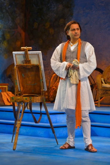 "Nirad Das (Firdous Bamji) paints a portrait of English poet Flora Crewe in 1930s India in Stoppard's ""Indian Ink.""   Das also played the role last fall in New York when the play ran with its newly revised ending at the Roundabout Theatre Company's Laura Pels Theatre.  In addition to their mutual attraction, Stoppard uses the relationship between Das and Flora Crewe to explore issues of culture clash.  Photo by Kevin Berne."