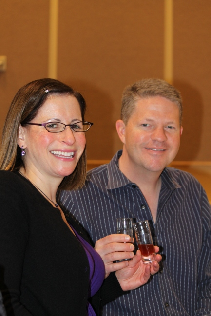Cindy and Jon Wolfenberger enjoy a glass of port from Sonoma Portworks at Saturday's Cheese and Chocolate Pairing Seminar at California's Artisan Cheese Festival this weekend at the Sheraton Sonoma County.  The San Francisco couple have been at all nine festivals.  He lovingly surprised her with tickets to the first festival and they have made it a romantic get way ever since.  Photo: Geneva Anderson