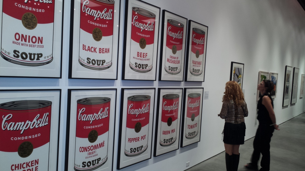 """Andy Warhol's legendary """"Campbell's Soup Cans,"""" which Warhol first exhibited in 1962, stopped many guests dead in their tracks.  The iconic artwork is a lynchpin of Jordan Schnitzer's collection of contemporary art.  Warhol claimed that the Campbell's Soup Can was his favorite work and that, """"I should have just done the Campbell's Soups and kept on doing them ... because everybody only does one painting anyway.""""  The signature image was created during the year that Pop Art emerged as the major new artistic movement and is a key transitional work from Warhol's hand-painted to photo-transferred paintings."""