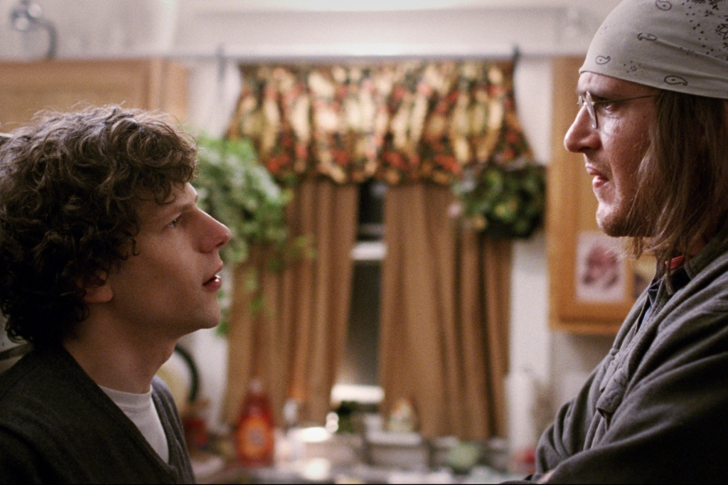 """Jesse Eisenberg as Rolling Stone journalist, David Lipsky, and Jason Segal as American author David Foster Wallace in James Ponsoldt's """"The End of the Tour"""" (2015), which screens Saturday, May 2 as SFIFF 58's Centerpiece film.  Image: Courtesy San Francisco Film Society"""