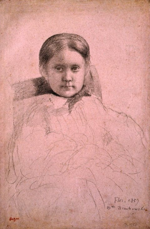 Degas' portrait of Mlle Dembowska, black crayon on pink paper, 1858-1859, 17.5 x 11.5 inches, is one of the most important works in Robert Flynn Johnson's collection of Degas drawings, on display at Petaluma Arts Center through July 26, 2105.  Flynn Johnson acquired this work in 1978.  Degas used black crayon, a medium he was not very familiar with (he normally used pencil) and the heavy shadowing emphasizing the young woman's face and its positioning vis a vis the angle of the chair, upsets the strict conventions of portraiture.  The catalogue entry associated with this drawing cites 1858 correspondence from Auguste De Gas that suggests the young artist was bored with drawing portraits to satisfy familial obligations. Image: Robert Flynn Johnson, Petaluma Art Center