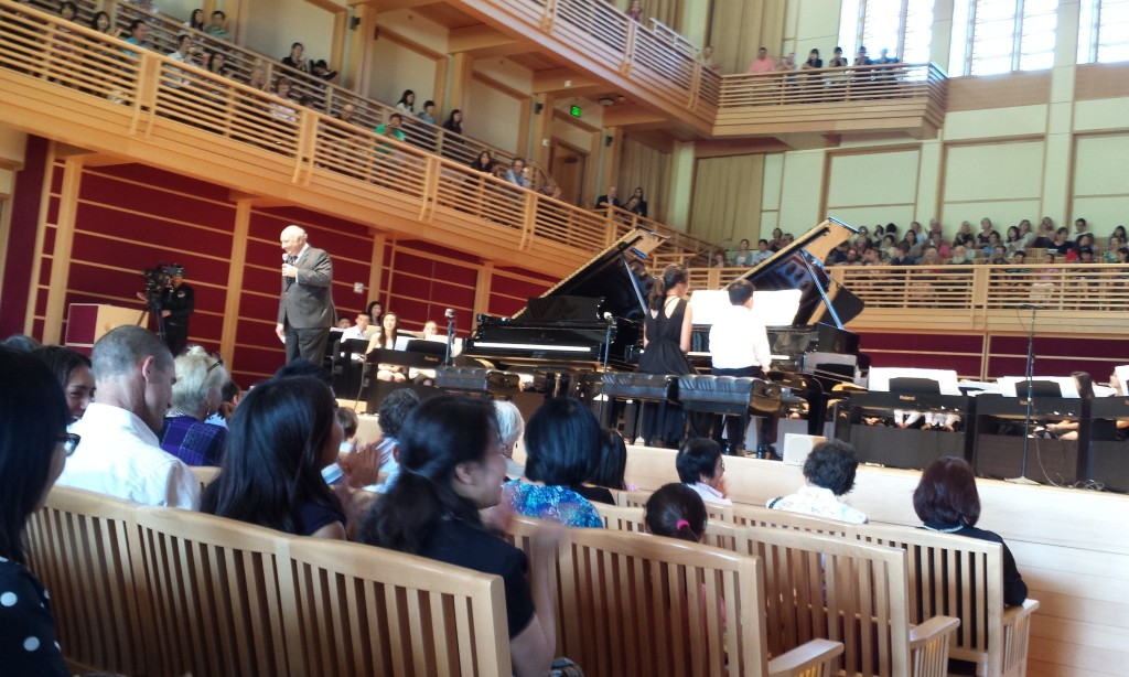 Green Music Center executive director, Zarin Mehta, introducing Lang Lang to a crowd of proud families and young musicians at Sunday's