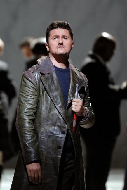 "Polish lyric tenor, Piotr Beczala, is Edgardo. In Act 3, Edgardo learns that Lucia has died and he stabs himself with a dagger hoping to be reunited with her in heaven. He sings ""Tu che a Dio spiegasti l'ali."" Photo: Cory Weaver, SFO."