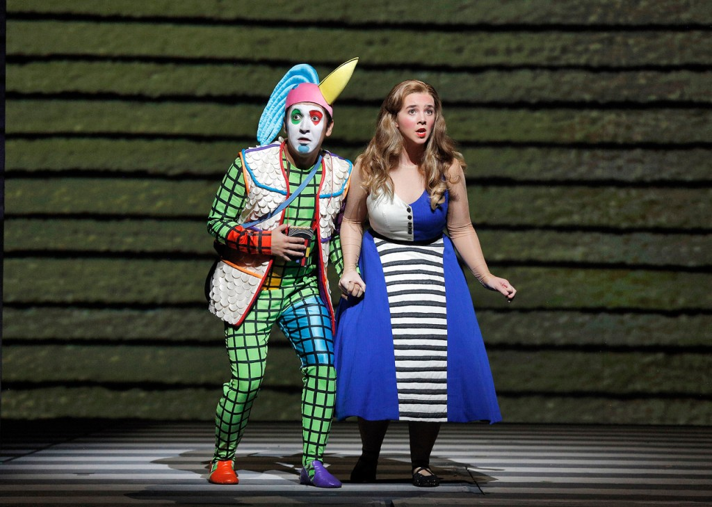 "Mexican-American baritone and second year Adler Fellow, Efraín Solís, is Papageno, the cowardly but good-natured birdcatcher. Soprano Sarah Shafer is Pamina, the Queen of the Night's daughter. Mozart's ""The Magic Flute"" is at San Francisco Opera through November 20, 2015. Photo: ©Cory Weaver/San Francisco Opera"