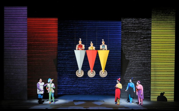 (From left to right above stage) Michael Sacco, Pietro Juvaram, and Rafael Larpa-Wilson) are the three guiding sprits who are sent to guide Papageno and Tamino on their adventure. Photo: ©Cory Weaver/San Francisco Opera