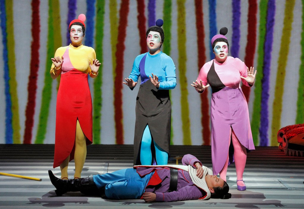 """The Three Ladies (from left) played by Zanda Švēde, Nian Wang and Jacqueline Piccolino, along with Tamino played by Paul Appleby in a scene from San Francisco Opera's production of Mozart's """"The Magic Flute."""" Photo: ©Cory Weaver/San Francisco Opera"""