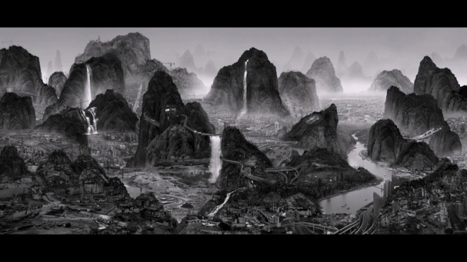 """Yang Yongliang's HD video, """"The Night of Perpetual Day"""" (4 channel 8'30"""")"""" blends traditional Chinese landscape drawing with painstakingly manipulated digital images to transport China's fabled mountains into a shimmering bustling urban night. Follow closely and you'll perceive a subtle commentary about China's unchecked development and that Yongliang, born in Shanghai in 1980, lives in a rich fantasy-land. Purchased in 2013 with funds from Gorretti and Lawrence Lui and Richard Beleson. Image: courtesy AAM"""