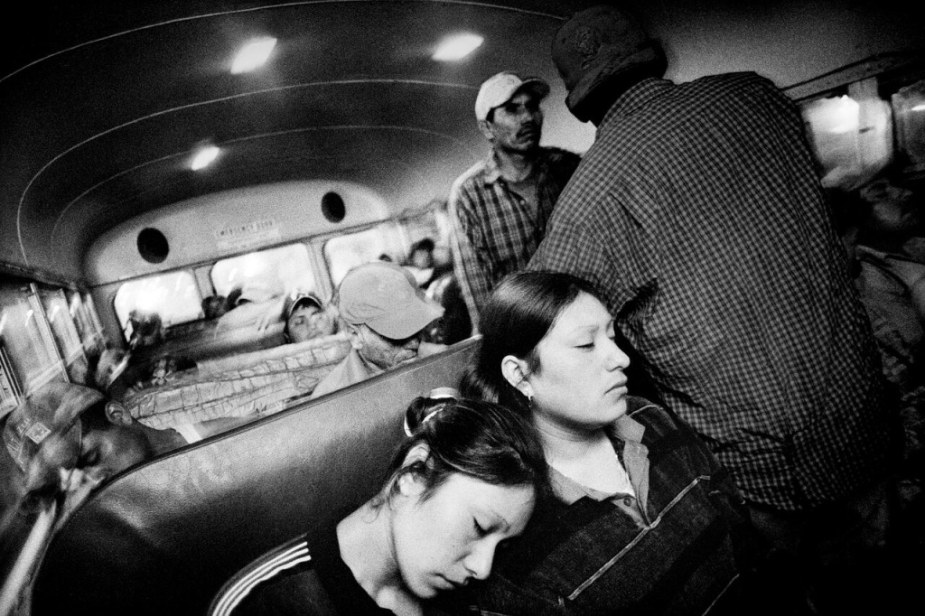 """Riding to work in a farm labor bus,"" Fresno, CA, 2004, 16 x 20 inches, archival pigment print on Museo Silver Rag paper, courtesy Matt Black"