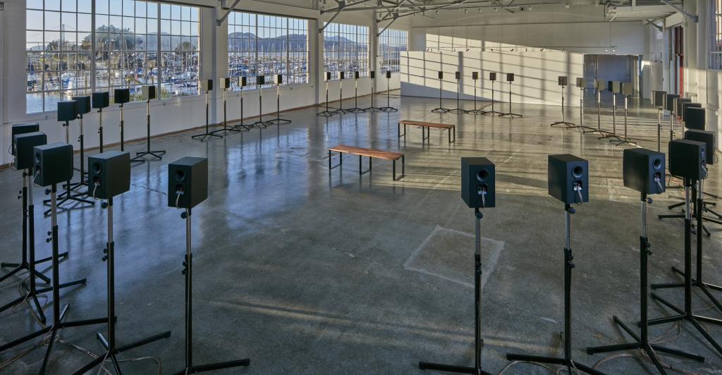 """Janet Cardiff, """"The Forty Part Motet"""" (installation view, Gallery 308, Fort Mason Center for Arts & Culture),2015; co-presented by Fort Mason Center for Arts & Culture and SFMOMA. Photo: JKA Photography"""