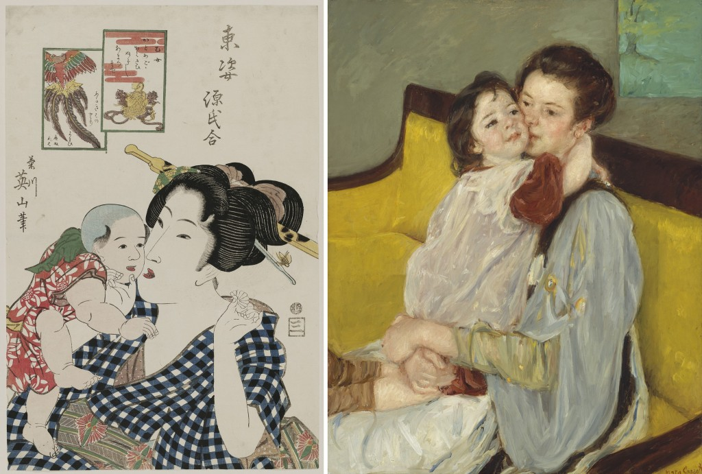"""Left: Kikukawa Eizan, """"Otome"""" (c. 1818–23), from the series 'Eastern Figures Matched with the Tale of Genji,' woodblock print, ink and color on paper, Museum of Fine Arts, Boston, William Sturgis Bigelow Collection; right: Mary Stevenson Cassatt, """"Maternal Caress"""" (Caresse maternelle) (c. 1902), oil on canvas, Museum of Fine Arts, Boston, gift of Miss Aimee Lamb in memory of Mr. and Mrs. Horatio Appleton Lamb. Photos: © 2015, MFA, Boston) (Click to enlarge)"""