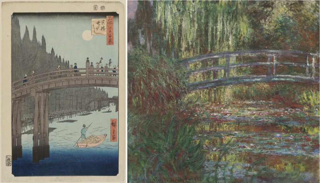 """Looking East,"" at the Asian Art Museum through February 7, 2016, places Japanese and American and French artworks side by side so that viewers can evaluate how Western artists and designers assimilated these new thematic and formal approaches from Japan. Left: ""Bamboo Yards, Kyobashi Bridge,"" 1857, from the series ""One Hundred Famous Views of Edo,"" by Utagawa Hiroshige I (Japanese, 1797–1858). Woodblock print; ink and color on paper. Museum of Fine Arts, Boston, William Sturgis Bigelow Collection, 11.26350. Right: ""The Water Lily Pond,"" 1900, by Claude Monet (French, 1840–1926). Oil on canvas. Museum of Fine Arts, Boston, Given in memory of Governor Alvan T. Fuller by the Fuller Foundation, 61.959. Photographs © 2015, MFA"