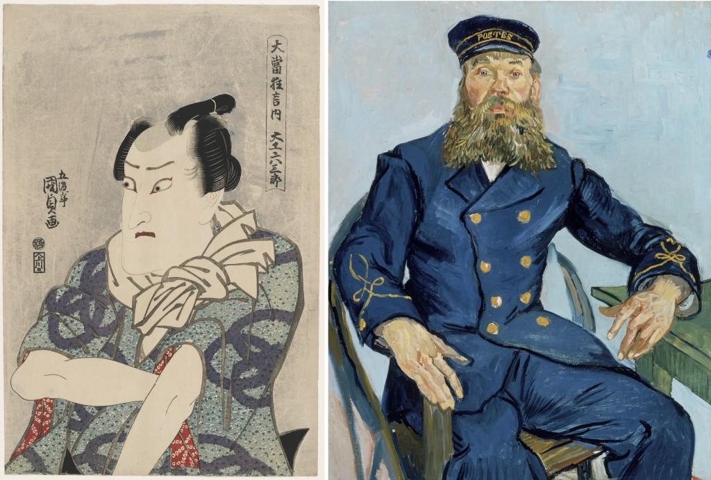 "Left: Utagawa Kunisada I (Toyokuni III), ""[Actor Onoe Matsusuke II as] the Carpenter Rokusaburo"" (c. 1814–15, from Kunisada's series 'Great Hit Plays,' woodblock print, ink and color on paper, Museum of Fine Arts, Boston, William Sturgis Bigelow Collection. Right: Vincent van Gogh, ""Postman Joseph Roulin,"" 1888, oil on canvas, Museum of Fine Arts, Boston, gift of Robert Treat Paine, 2nd. Photos © 2015, MFA, Boston) (click to enlarge)"