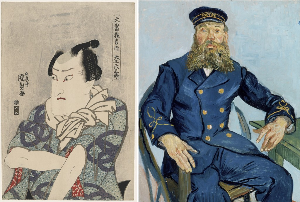"Left: Utagawa Kunisada I (Toyokuni III), ""[Actor Onoe Matsusuke II as] the Carpenter Rokusaburo"" (c. 1814–15, from Kunisada's series 'Great Hit Plays,' woodblock print, ink and color on paper, Museum of Fine Arts, Boston, William Sturgis Bigelow Collection. Right: Vincent van Gogh, ""Postman Joseph Roulin,"" 1888, oil on canvas, Museum of Fine Arts, Boston, gift of Robert Treat Paine, 2nd. Photos © 2015, MFA, Boston) (click to enlarge)"