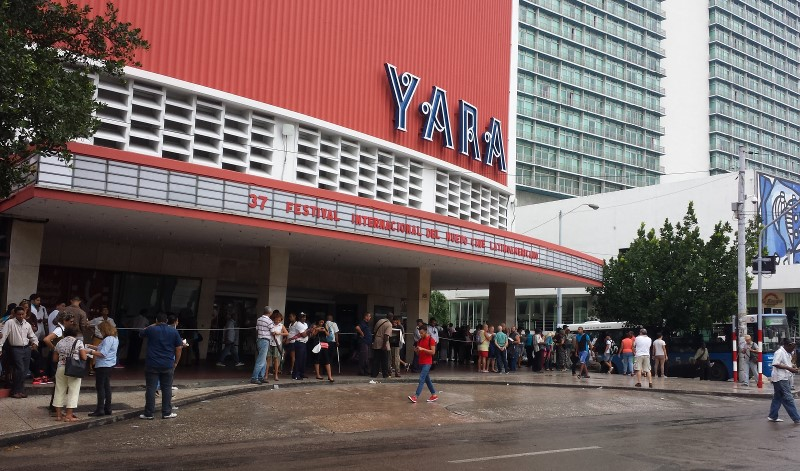 "Cine Yara, in Havana's Vedado district, is one of the main venues for Havana's International Festival of New Latin Cinema. A key example of Cuba's ""Modern Movement"" in architecture, it opened in 1947 as ""Teatro Warner Radiocentro"" with 1,650 seats, and was operated by Warner Bros. In 2015, it became one of Havana's first cinemas to embrace digital projection but it retained a 35 mm projector to allow screening of classic films. Photo: Geneva Anderson"