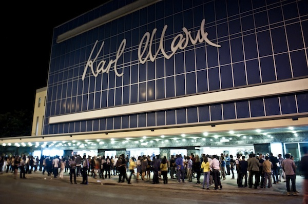 "Opening night at Teatro Karl Marx at Havana's 37th International Festival of New Latin Cinema, December 3-13, 2015. The film was Argentinean director Pablo Trapero's ""El Clan"" (2015) and Geraldine Chaplin, the British-American daughter of Charles Chaplin, was honored. The theatre is Havana's largest cinema house and seats over 5,000."